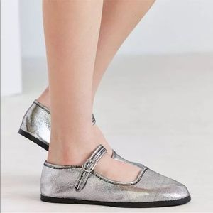 Urban Outfitters Metallic Silver Mary Janes 9